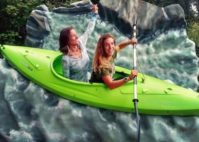 With Taylor, fake kayaking.